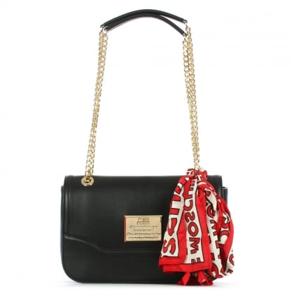 Black Flapover Chain Handle & Scarf Shoulder Bag