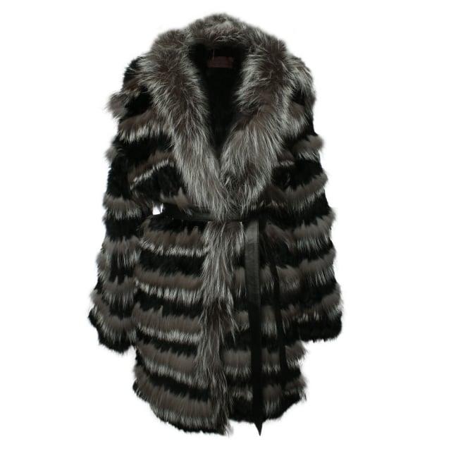 Little Red Black Fur Striped Coat