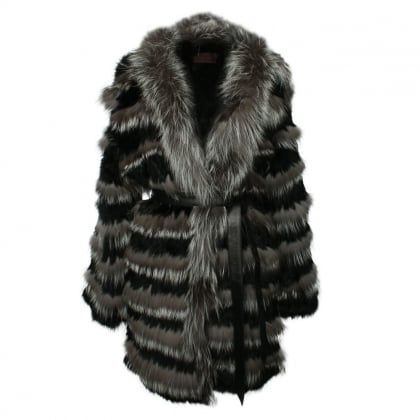 Black Fur Striped Coat
