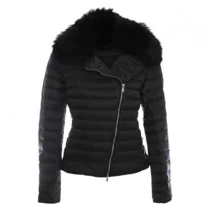 Black Fur Trim Biker Jacket