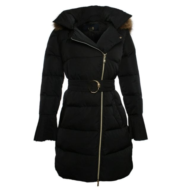 Black Fur Trim Hooded Long Jacket