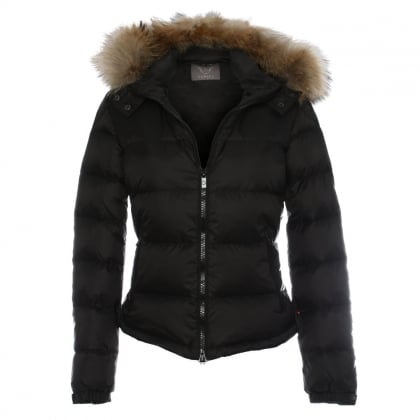 Black Fur Trim Hooded Short Jacket