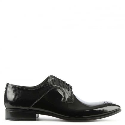 Black Gloss Leather Lace Up Dress Shoe
