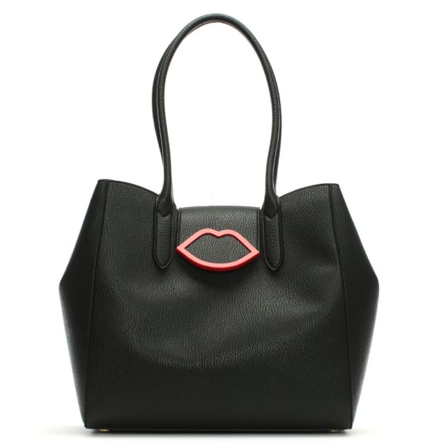 Black Grainy Leather Cupids Bow Sofia Tote Bag