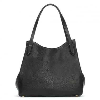 Black Grainy Leather Jackie Hobo Bag