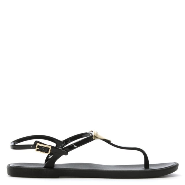 Black Jelly Toe Post Sandals