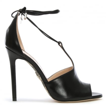 Black Leather Ankle Tie T Bar Sandals