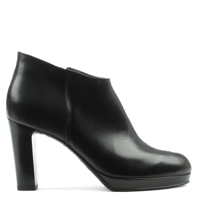 Black Leather Asymmetric Top Block Heel Ankle Boot