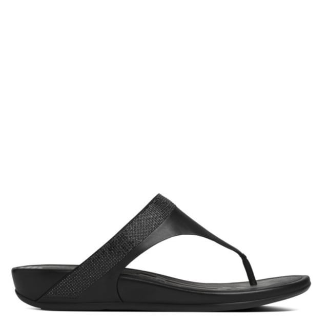 d7015d8799e484 Fitflop Black Leather Banda Micro Crystal Toe Post Sandal