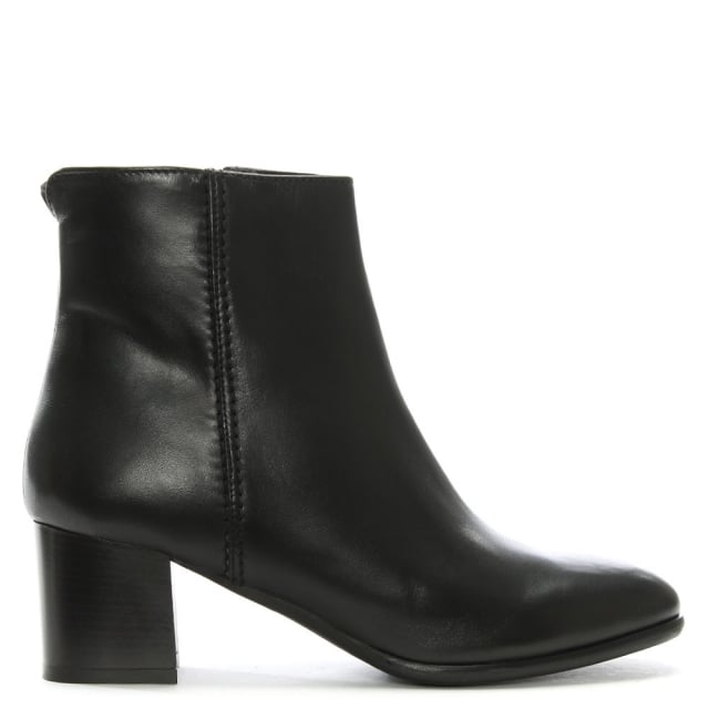 Lamica Black Leather Block Heel Ankle Boots