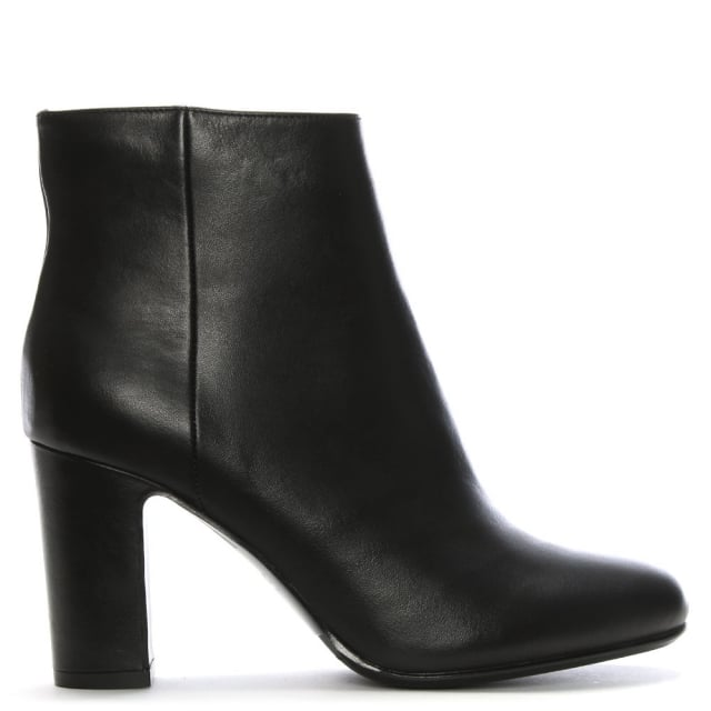 Salamander France Black Leather Block Heel Ankle Boots 59126f4a8a0b