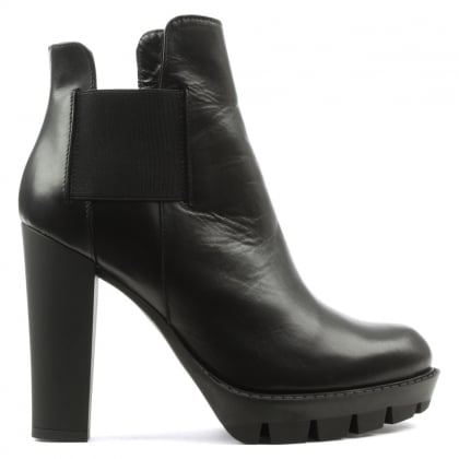 Black Leather Block Heel Chelsea Boot