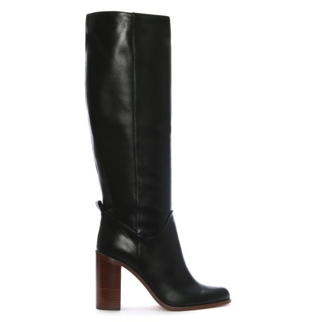 Lamica Black Leather Block Heel Knee Boots
