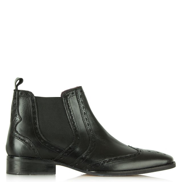 Black Leather Brogue Chelsea Boot