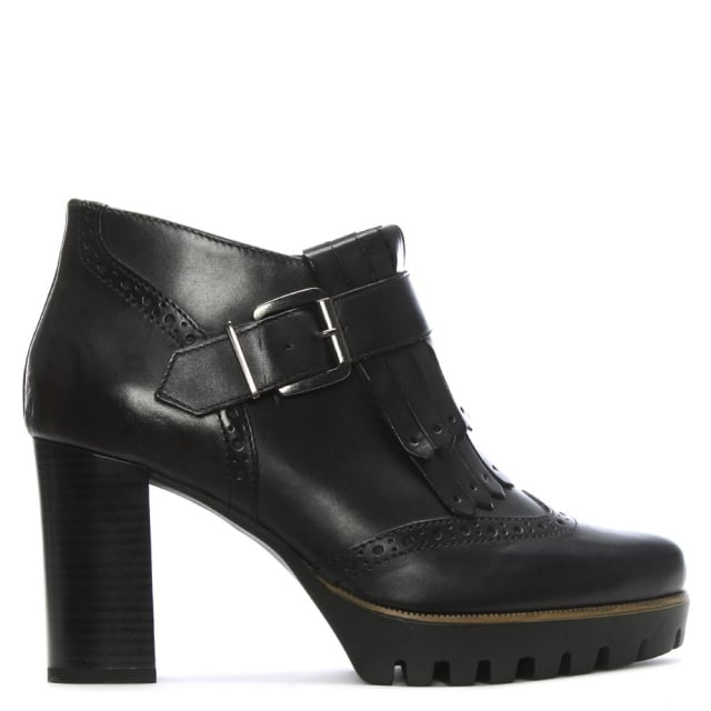 Black Leather Brogue Heeled Ankle Boots