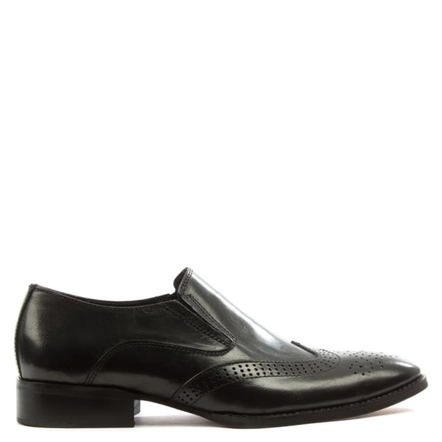 Black Leather Brogue Loafer