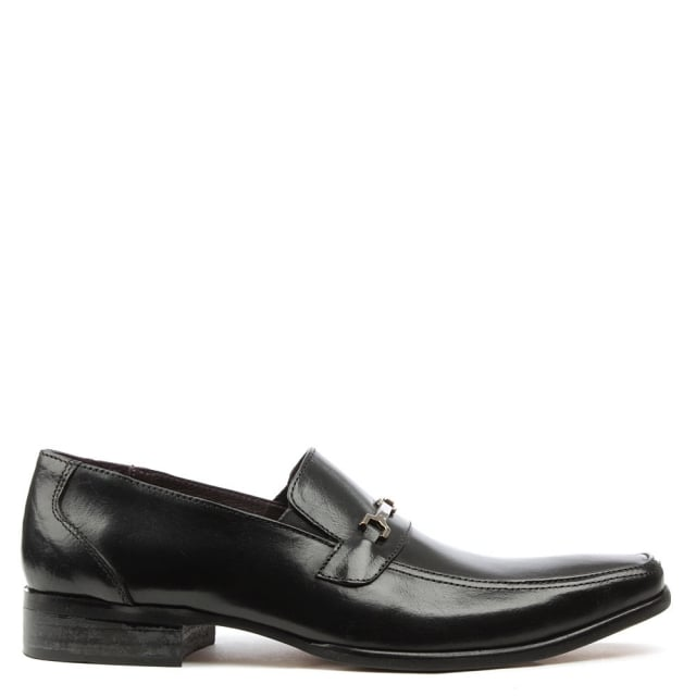 Black Leather Buckle Loafer