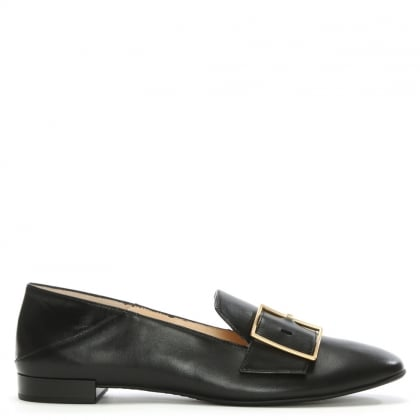 Hogl Black Leather Buckle Loafer