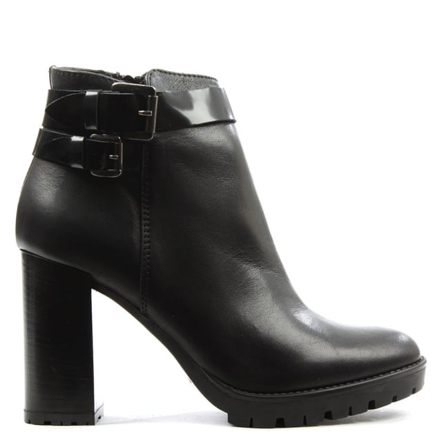 Black Leather Buckled Ankle Boot