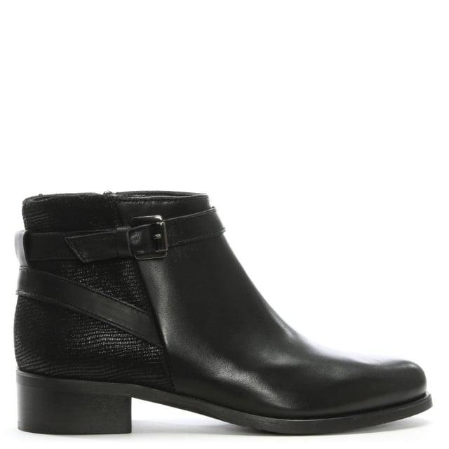 Black Leather Buckled Ankle Boots