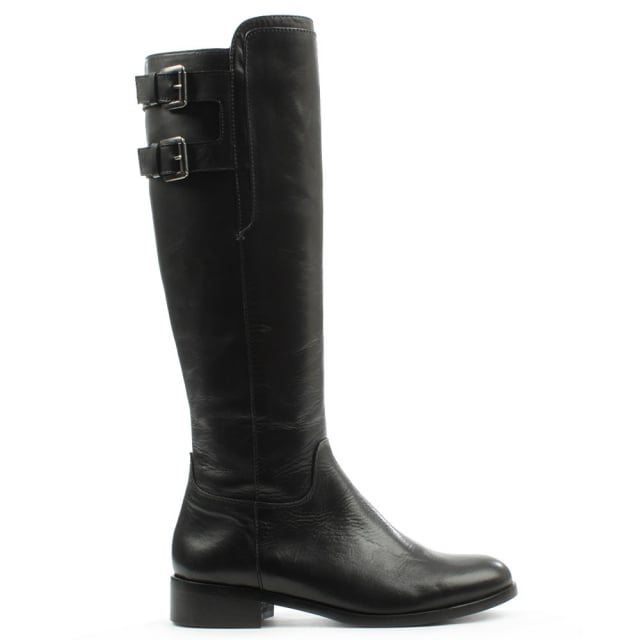 Black Leather Buckled Knee High Boot