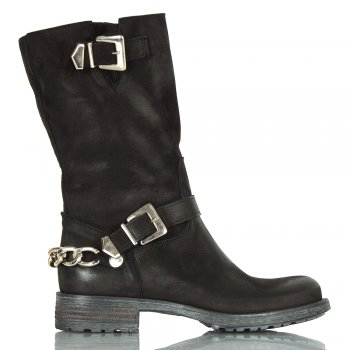 Black Leather Chains Women's Calf Biker Boot