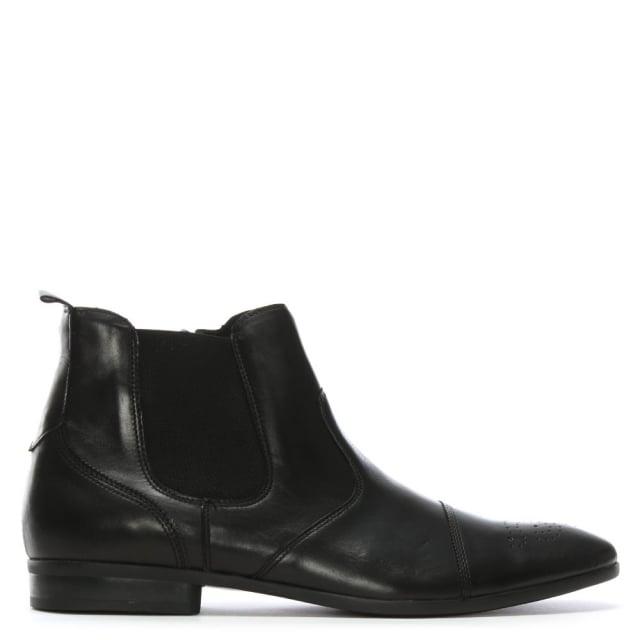Roman Rock Black Leather Chelsea Boots