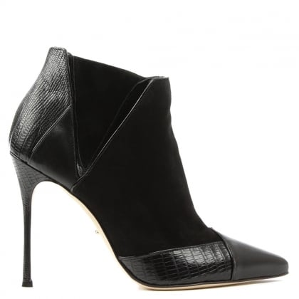 Black Leather Christabel Cut Away Stiletto Ankle Boot