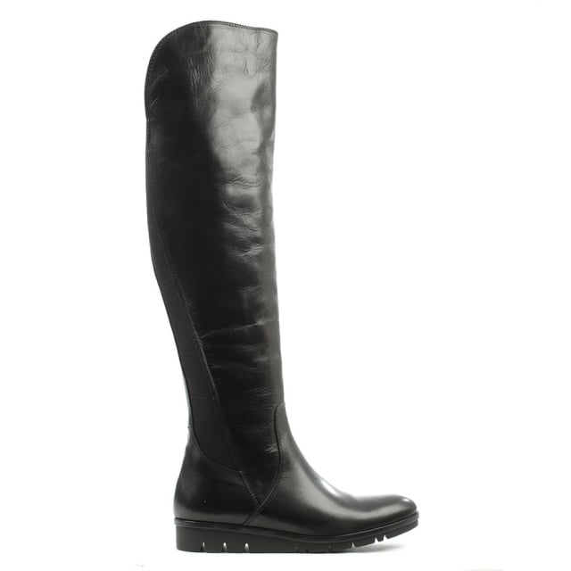 Black Leather Cleated Knee High Boot
