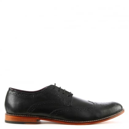 Black Leather Contrast Sole Lace Up Brogue