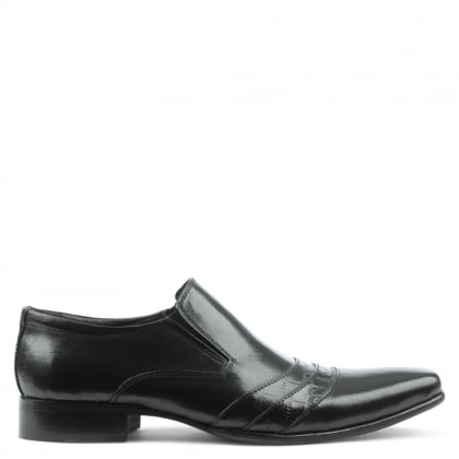Black Leather Contrast Stripe Loafer