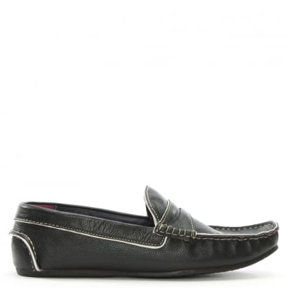 Black Leather Contrast Trim Loafers