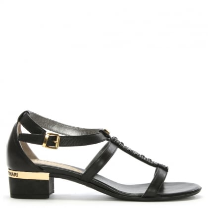 Black Leather Diamante T Bar Sandal