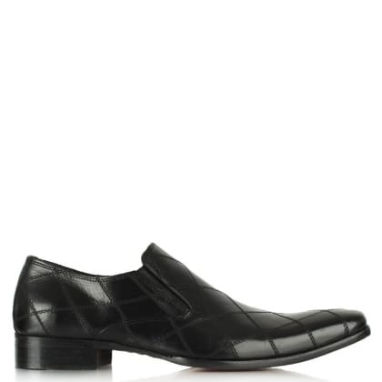 Black Leather Diamond Stitch Loafer