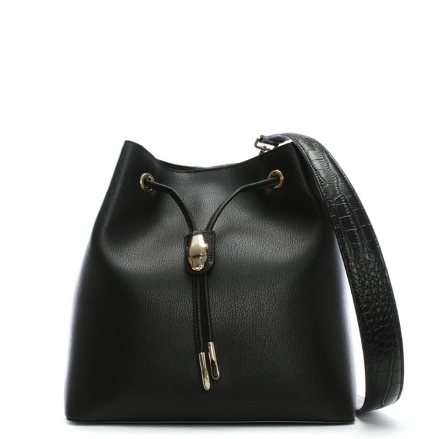 Cavalli Class Black Leather Draw String Bucket Bag