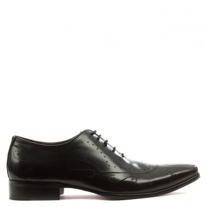 Black Leather Etched Lace Up Shoe