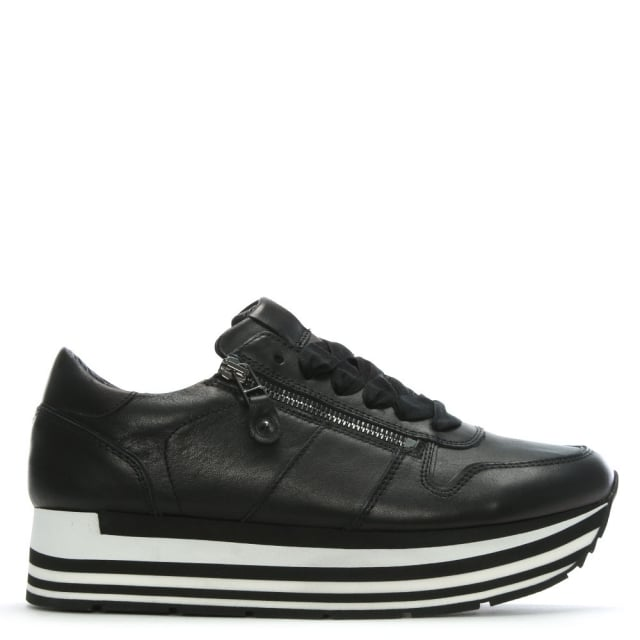 Kennel & Schmenger Black Leather Flatform Sneakers