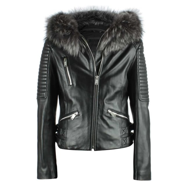 Black Leather Fur Trim Biker Jacket