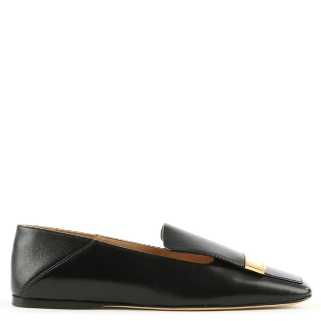 Sergio Rossi Black Leather Gold Plaque Loafer