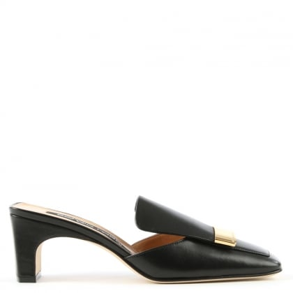 Black Leather Gold Plaque Mule