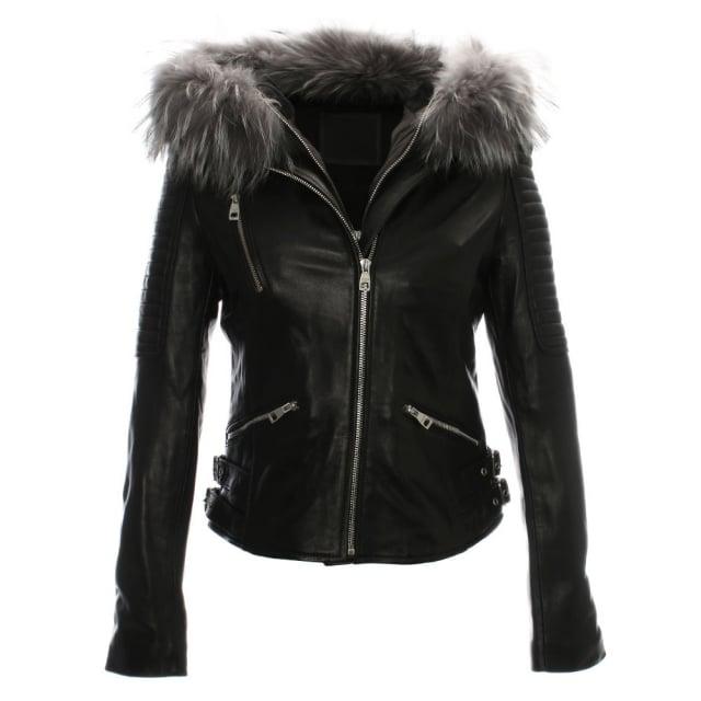 R Paris Black Leather Grey Fur Trim Biker Jacket