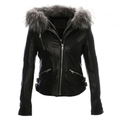 Black Leather Grey Fur Trim Biker Jacket