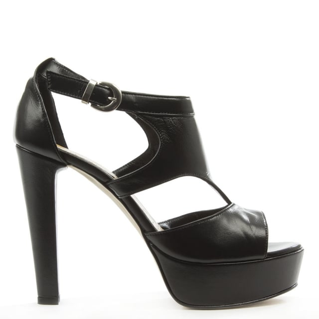 Black Leather High Platform Cut Away Sandal
