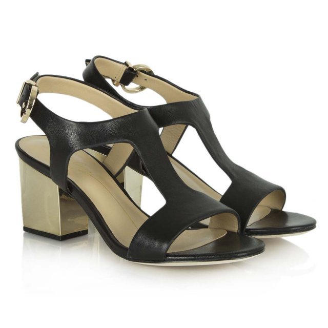 f4c89e95493 Black Leather Ismene T Bar Gold Block Heel Sandal