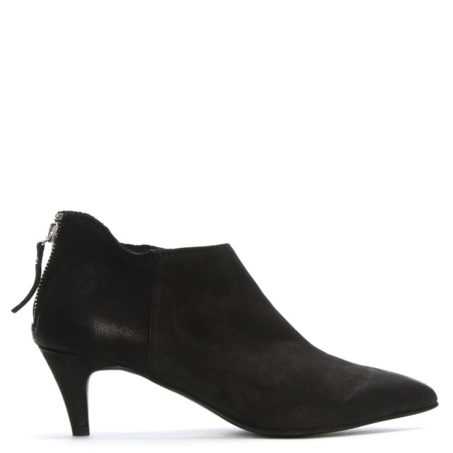 Manufacture D'essai Black Leather Kitten Heel Ankle Boots