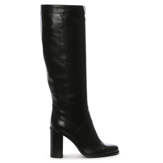 Lamica Black Leather Knee High Boots