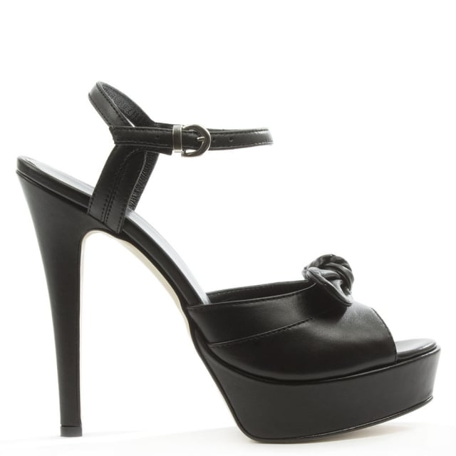 Black Leather Knotted Platform Sandal