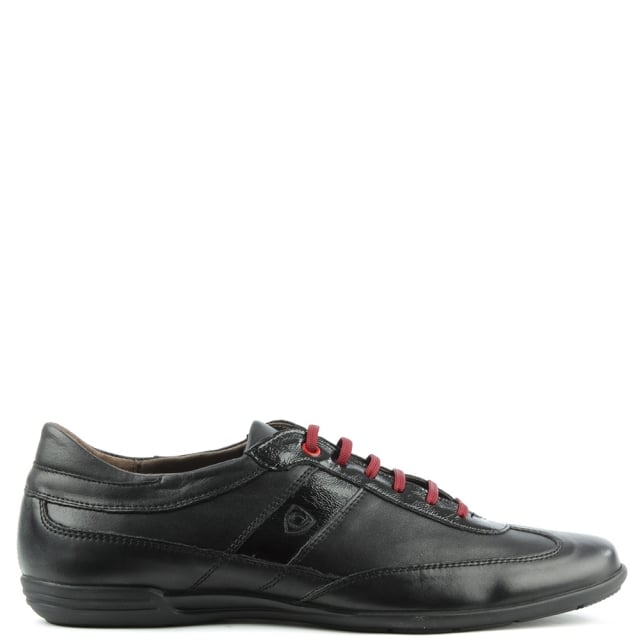 Black Leather Lace Up Casual Shoe