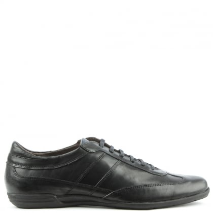 Enzo Feldini Black Leather Lace Up Casual Shoe