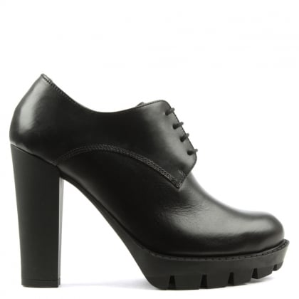 Black Leather Lace Up Platform Shoe